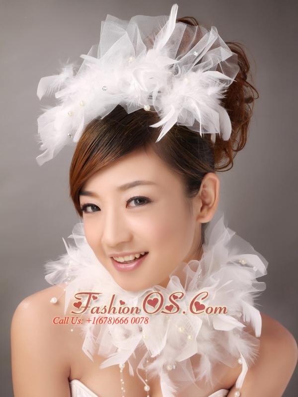 Beautiful Feather Flower Imitation Pearls Fascinators