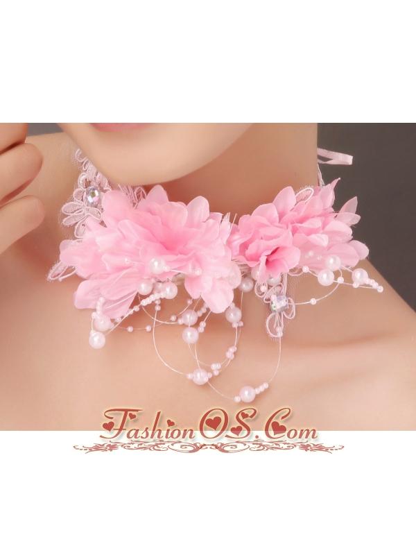 Beautiful Pink Taffeta Beading Hand Made Flowers Hair Combs