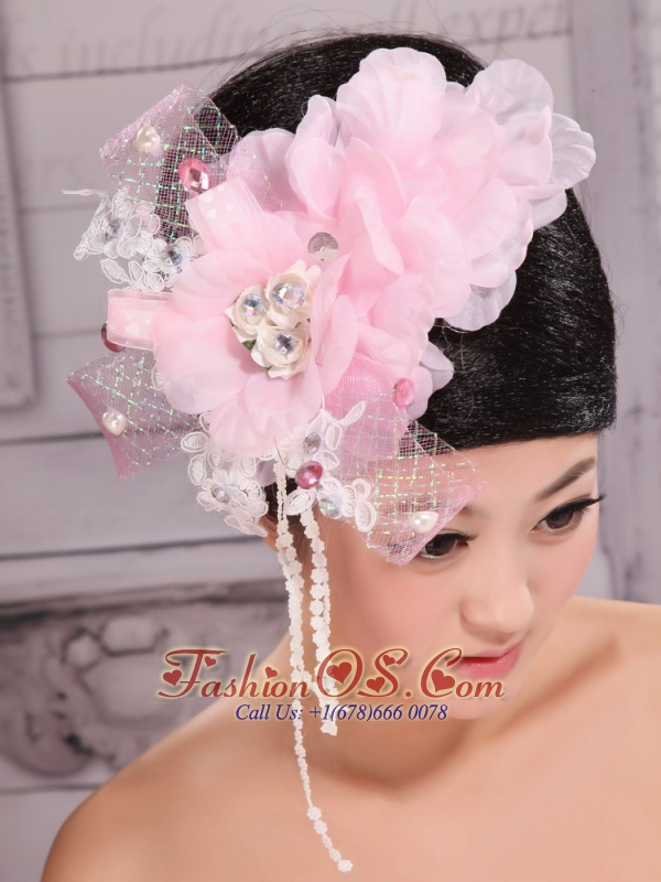 Custom Made Baby Pink Headpieces Organza and Tulle With Imitation Pearls and Beaded Decorate