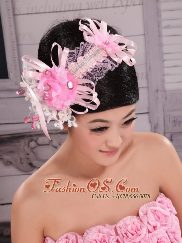 Cute Hand Made Flowers Decorate With Tulle Headpices For Wedding Party