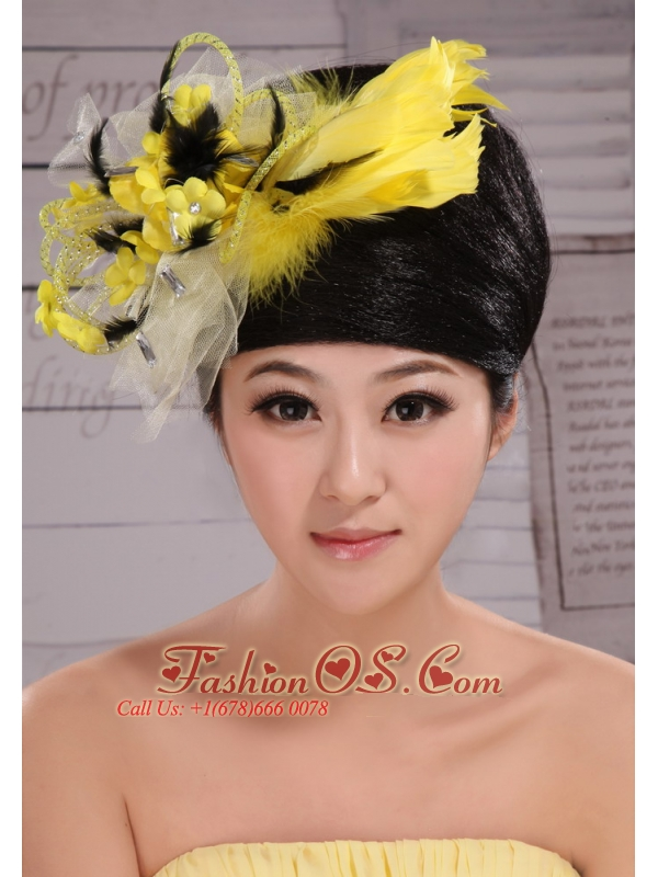Fashionable Yellow and Black Feather Tulle Women' s Fascinators