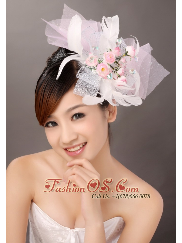 Light Pink Fashionable Tulle Feather Hand Made Flowers Beading Fascinators