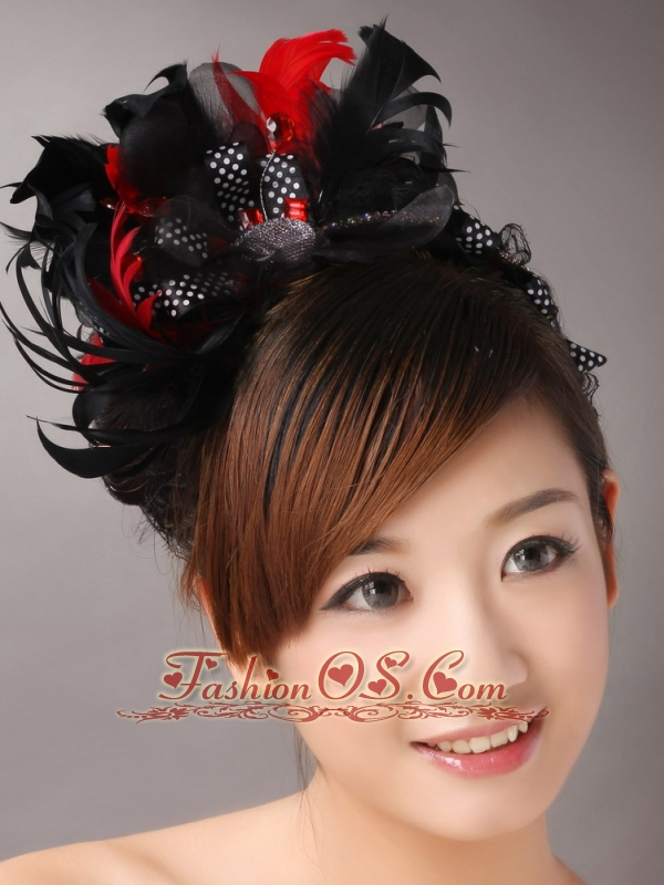 Fully Handmade Sweet Black and Red Headpieces Imitation Pearls With Feathers For Party