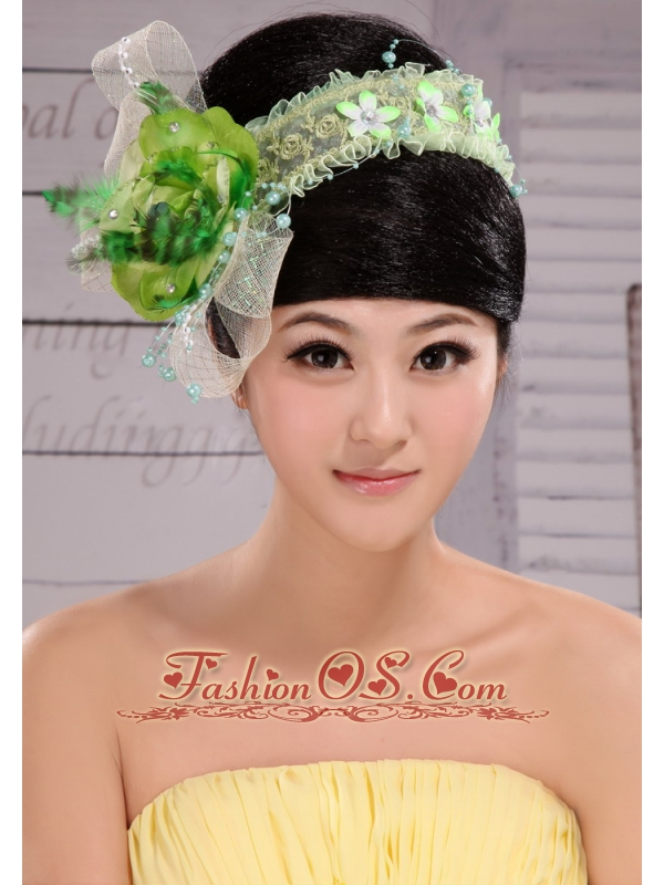 Green And Fresh Small Laurie Flowers Beading Fascinators For Party