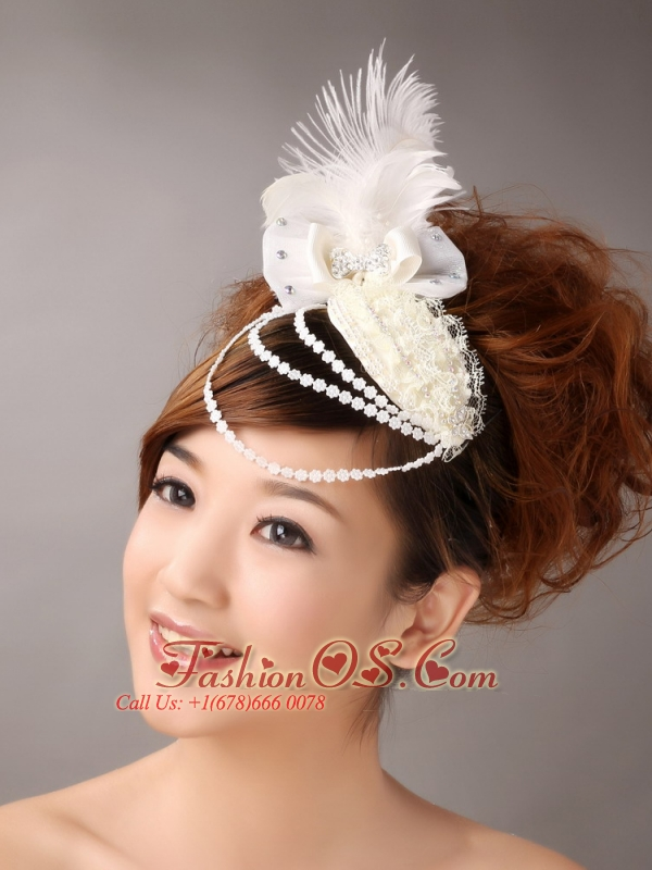 Hairpins Birdcage Veils Feather White Organza Special Occasion and Outdoor