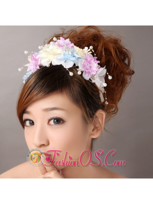 Hand Made Flowers For Muti-color Headpiece With Pearl