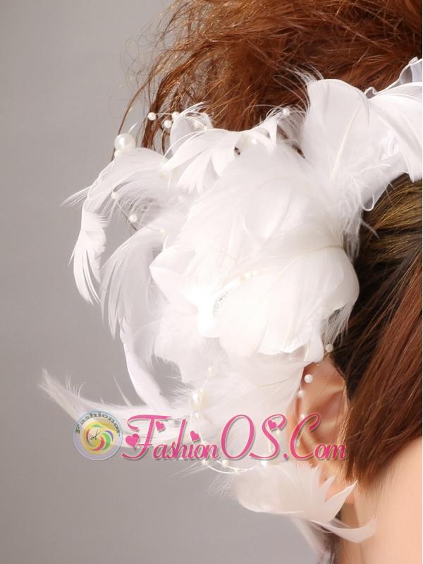 Imitation Pearls White Organza Women' s Fascinators
