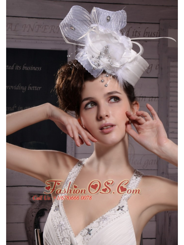 Fashionable Feather/ Ribbons Bridal Hat/ Headpiece