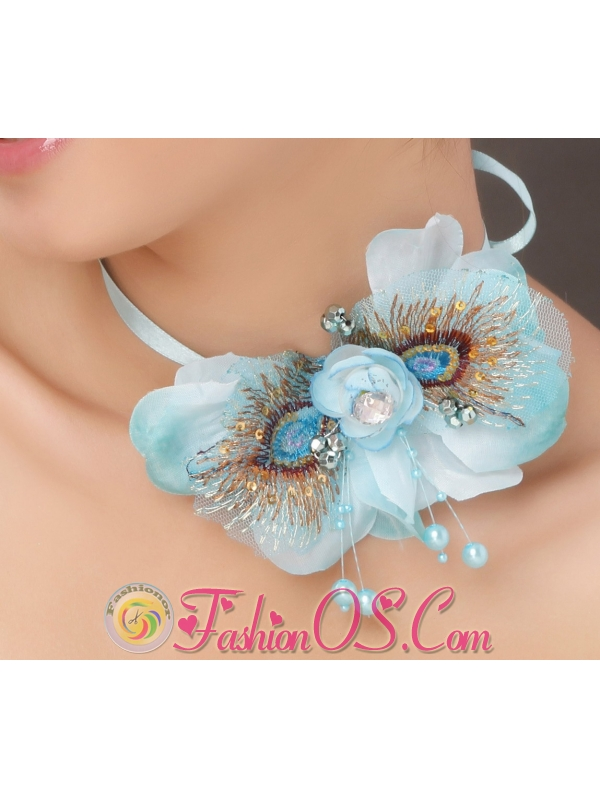 Popular Light Blue Taffeta Tulle Feather Beading Women' s Fascinators