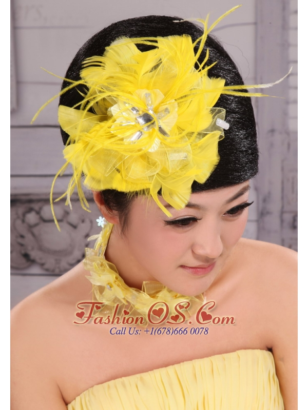 Pretty Yellow Beading Feather Flower Women' s Fascinators For Party