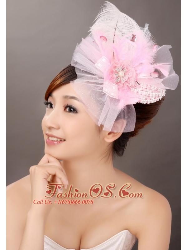 Sweet Tulle Feather Side Clamp Diamond Women' s Fascinators