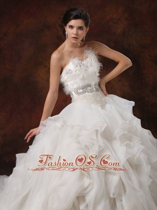 Beaded Decorate Bodice Ruffled Layers Feather Ball Gown Wedding ...