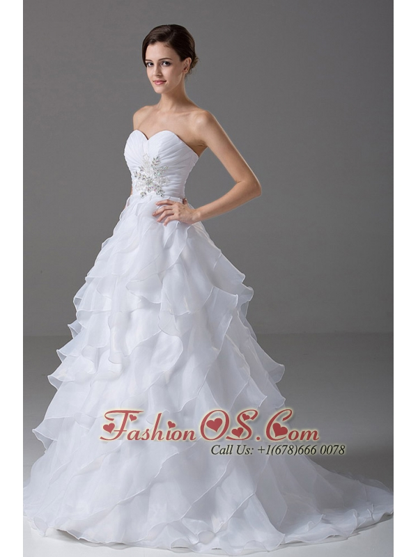 Beading Organza Sweetheart Elegant Wedding Dress A-Line Brush