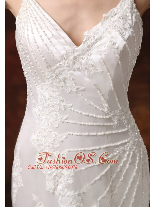Custom Made Spaghetti Straps Mermaid Wedding Dress Lace Over Shirt