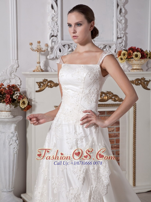 Cap Sleeves Square Wedding Dress With Court Train Satin and Lace