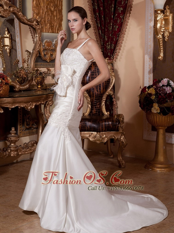 Mermaid One Shoulder Satin Wedding Dress Hot  With Lace and Feather Decorate