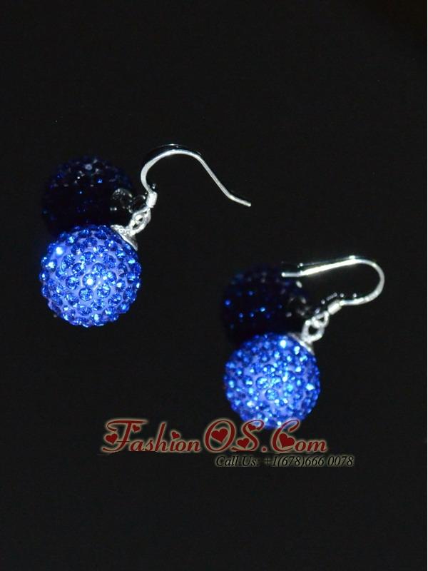 Blue Round Rhinestone Brand New Earrings