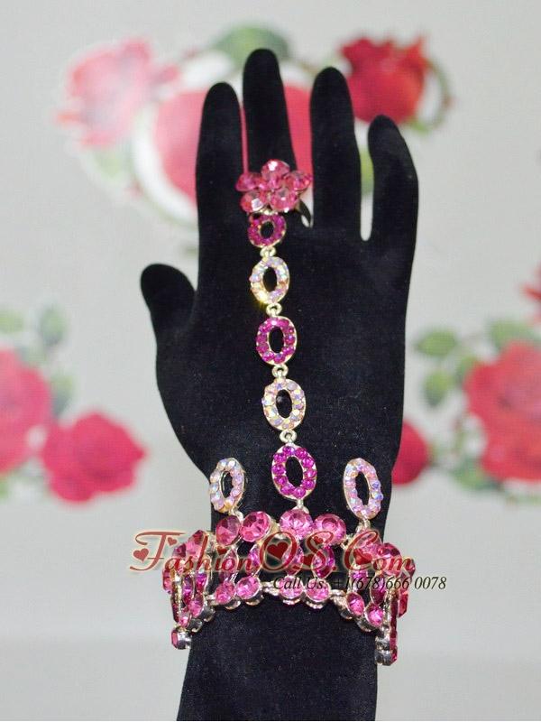 Shining Fuchsia Bracelet And Ring