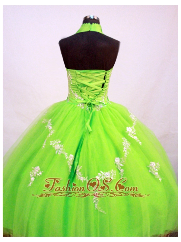 Fashionable Little Girl Pageant Dresses With Halter Top and Spring Green