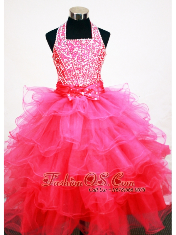 e3b7353a4 Popular Hot Pink Halter Neckline Beaded and Ruffled Layers Decorate ...