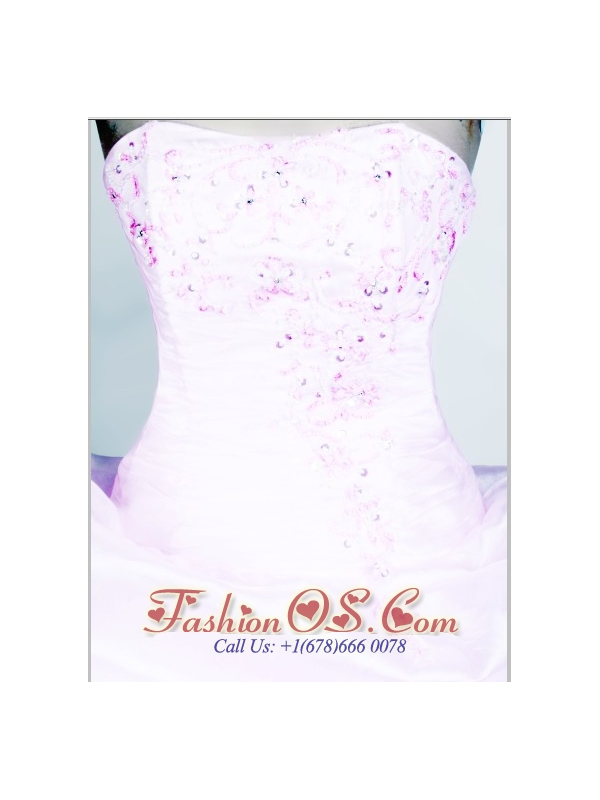 2013 Lovely Strapless Little Girl Pageant Dresses  With Beading and Organza