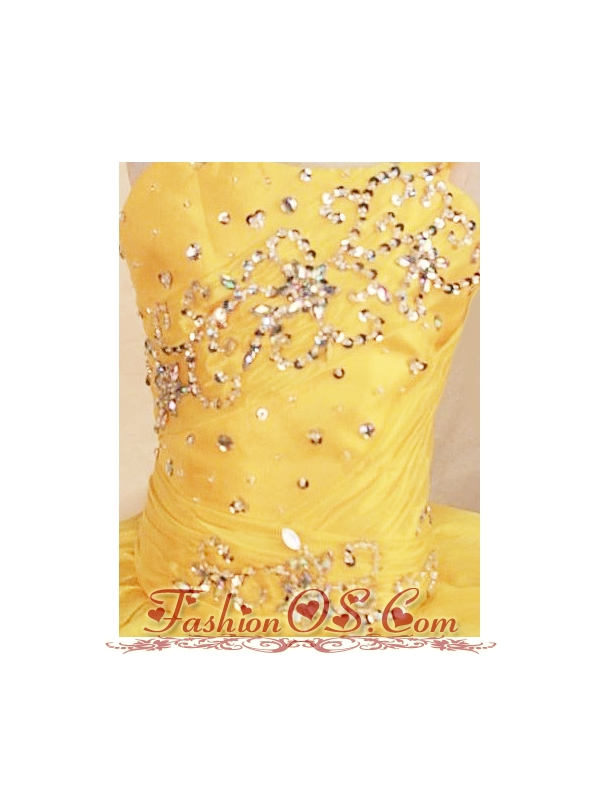 2013 Yellow Beautiful Beaded Decorate Bust Little Girl Pageant Dresses With One Shoulder Neck Ruffles
