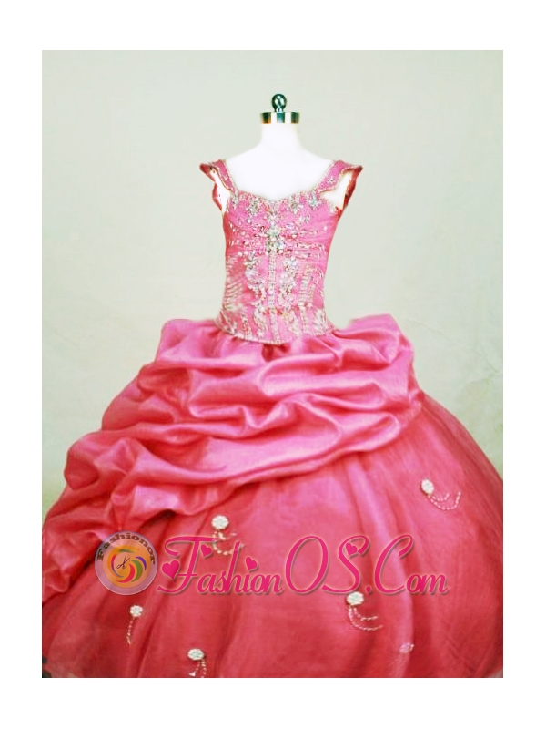 Beading Sweet Ball gown Square Organza Floor-length Hot Pink Little Girl Pageant Dresses