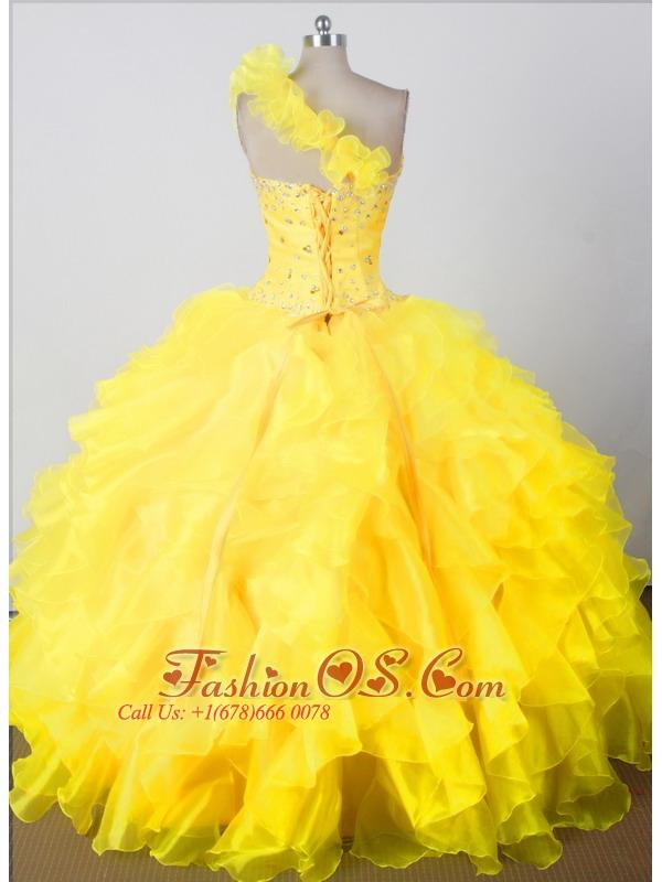 Elegant Beading Ruffles Ball Gown One Shouldder Floor-length Little Girl Pageant Dress