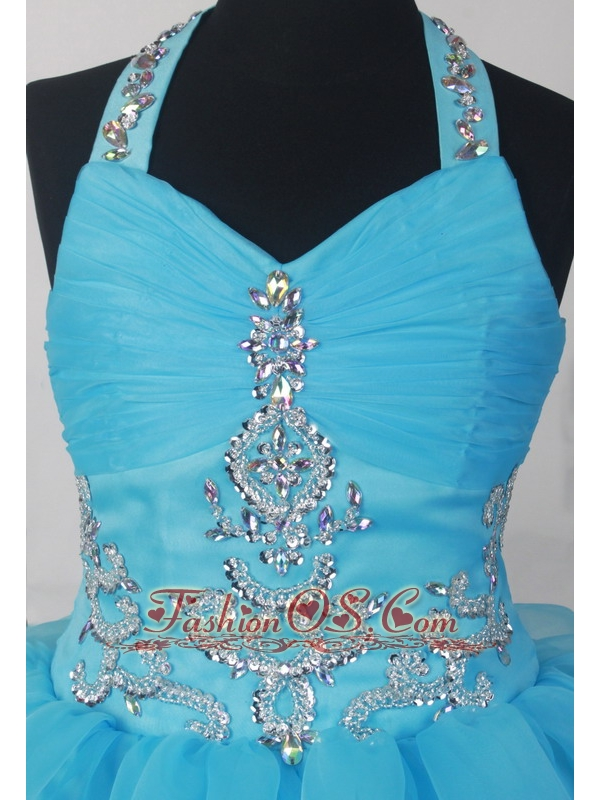 Halter Beading And Ruffled Layers For 2013 Lovely Little Girl Pageant Dresses