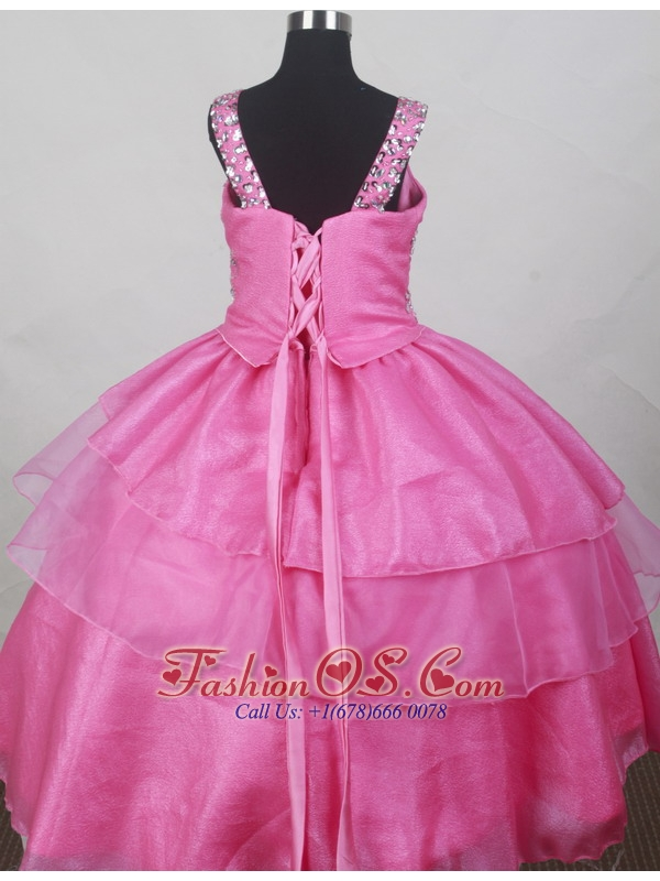 Hot Pink Straps Neckline Beaded Decorate Bodices Flower Girl Pageant Dress