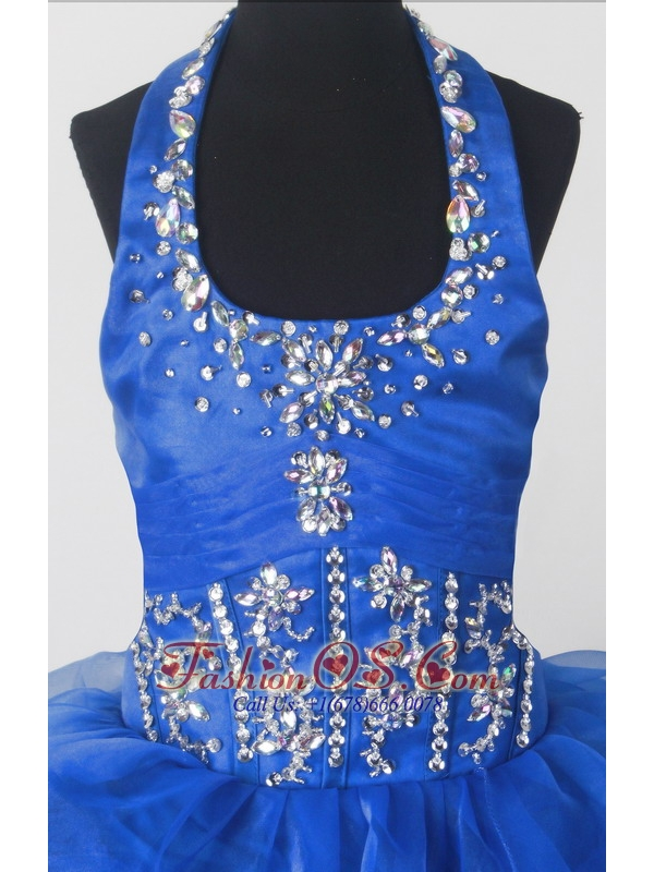 Perfect Beading Ball Gown Halter Top Floor-length Little Girl Pagant Dress