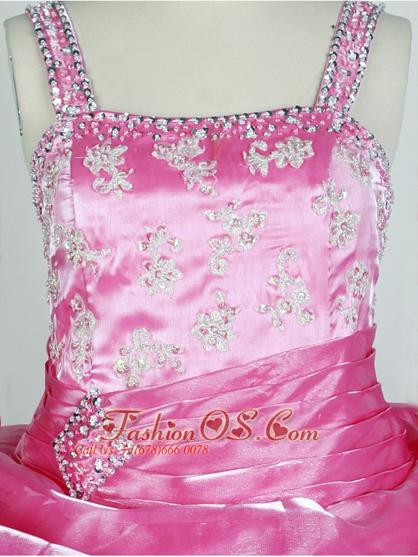 Rose Pink and Appliqes For Lovely Little Girl Pageant Dresses