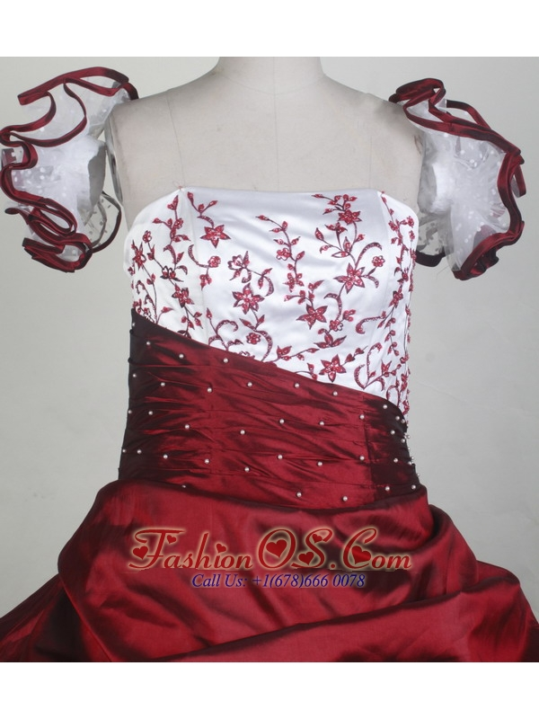 2013 New Custom Made Embroidery Red and White Flower Girl Pageant Dress