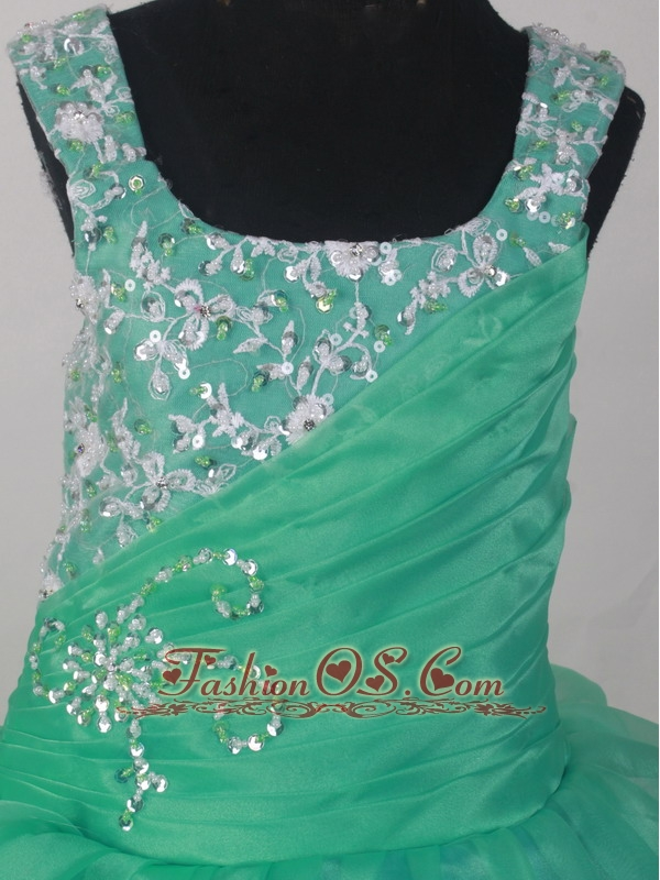 2013 Popular Sweetheart Flower Girl Pageant Dress With Appliques and Ruch Decorate Turquoise