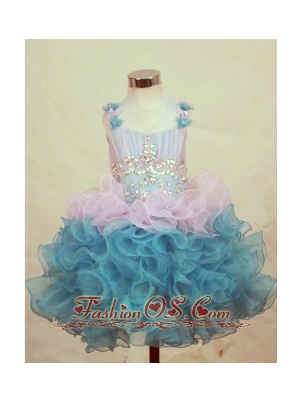 A-Line Straps Mini-length Multi-color Organza Beading Little Girl Pageant Dresses
