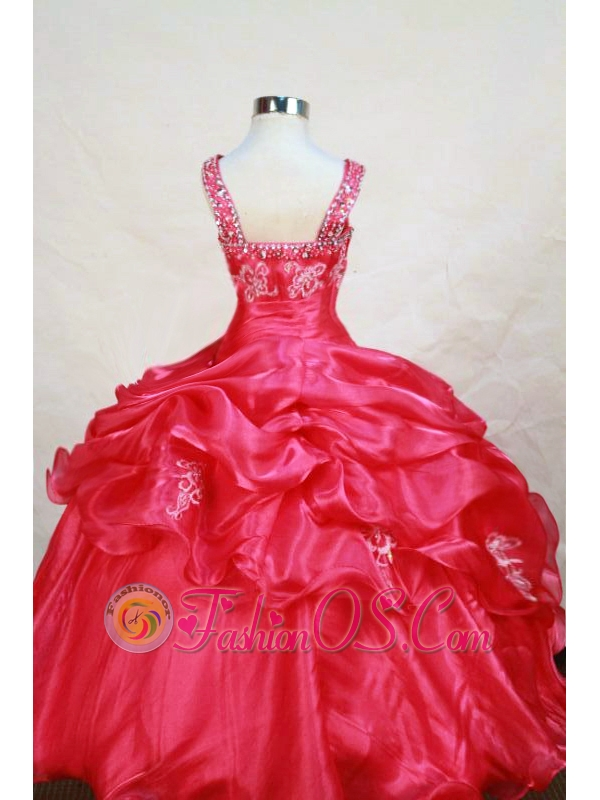 Appliques Decorate Shoulder Sweet Straps Organza Little Girl Pageant Dresses