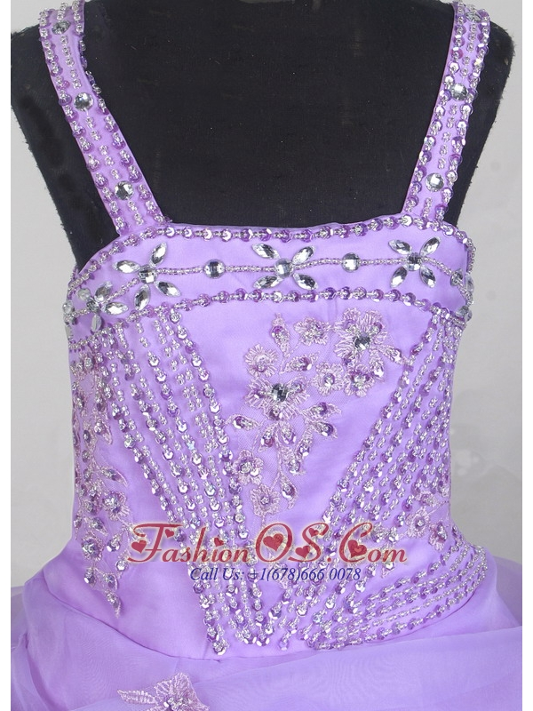 Beautiful Appliques With Beading Little Girl Pageant Dress Ball Gown Strap Floor-length