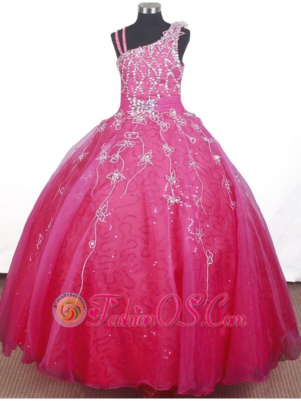 Brand new Beading Hand Made Flowers Ball Gown Strap Floor-length Little Girl Pageant Dress