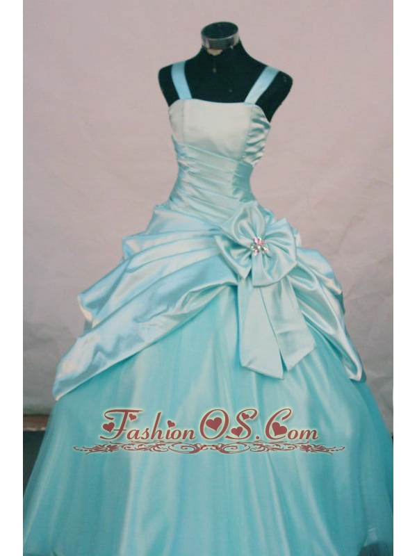 Custom Made Straps Aqua Blue Taffeta Little Girl Pageant Dresses With Hand Made Flowers
