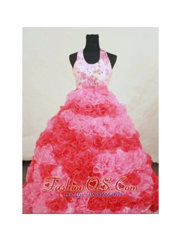 Designer Halter Top Organza Appliques Little Girl Pageant Dresses With Multi-color Hottest