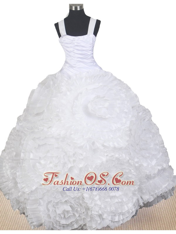 Elegant Hand Made Flowers Decorate Bodice Ball Gown Little Girl Pageant Dress Straps Floor-length