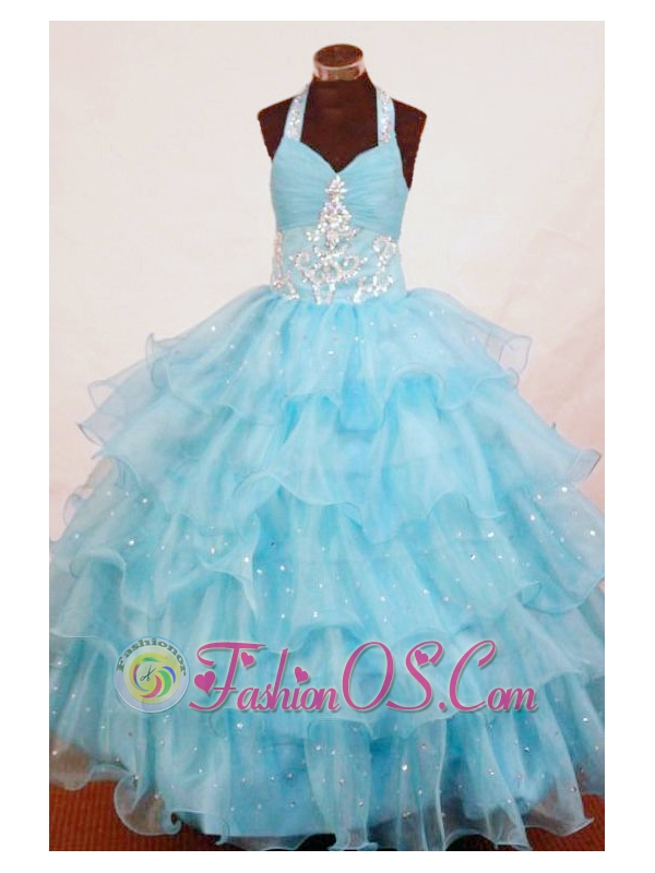 Halter Top Aqua Blue Organza Appliques Little Girl Pageant Dresses