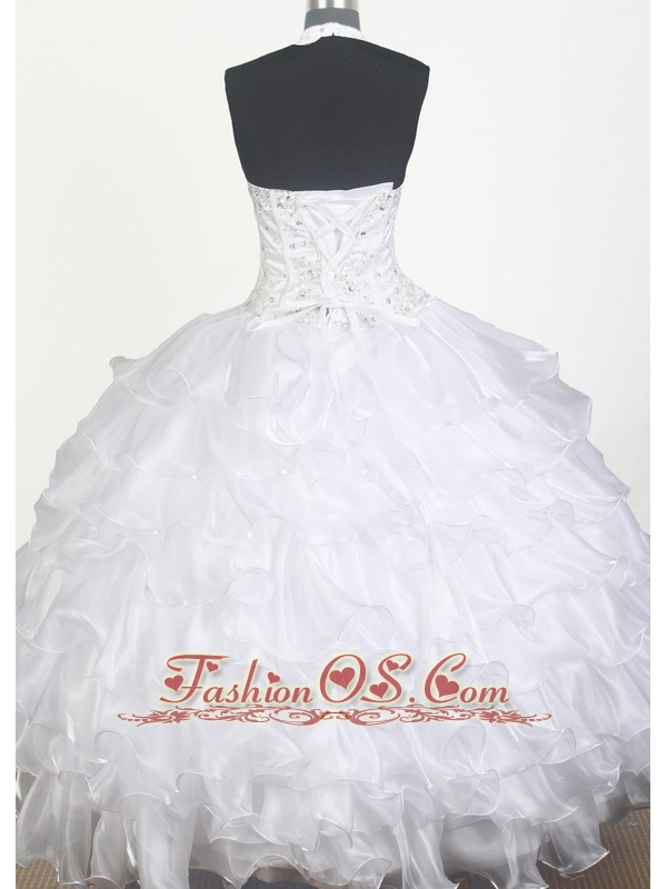 Lovely Beading Ruffled Layers Ball Gown Little Girl Pageant Dress Halter Top Floor-length