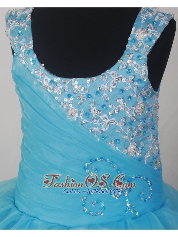 Lovely Light Blue Scoop Neckline Appliques Decorate Flower Girl Pagaent Dress