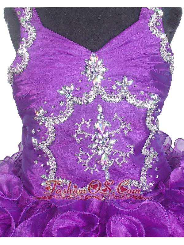 Luxurious Beading and Ruffles Ball Gown V-neck Little Girl Pageant Dress Floor-length
