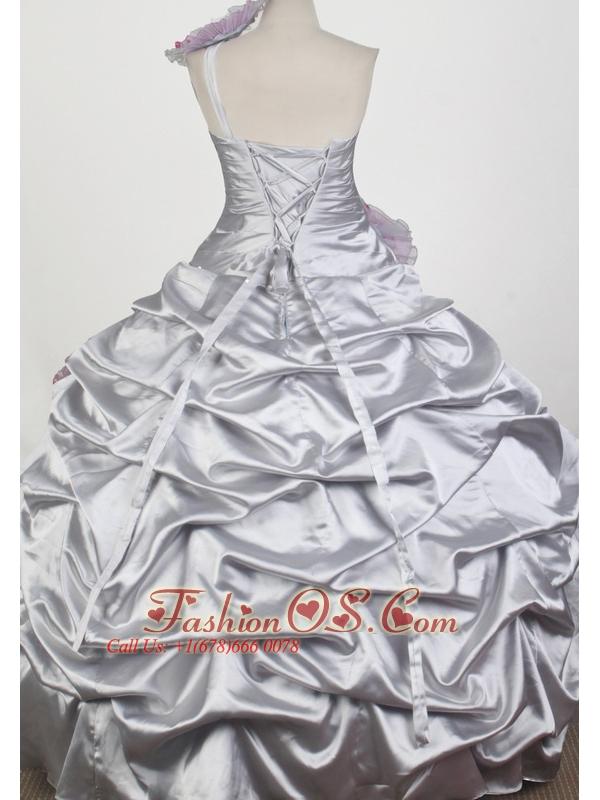 Popular Beading Hand Made Flowers Ball Gown One Shoulder Floor-length Little Girl Pageant Dress