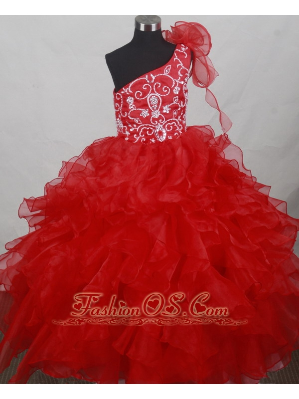 Popular Red One Shoulder Flower Girl Pageant Dress With Ruffled Layers and Embroidery Decorate