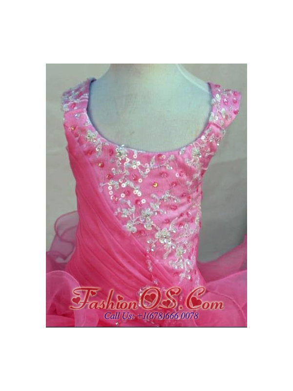 Scoop Pink Organza Appliques Little Girl Pageant Dresses For 2013 Custom Made