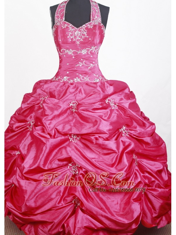 Sweet Ball Gown Embroidery With Beading Halter Top Floor-length Little Girl Pageant Dress