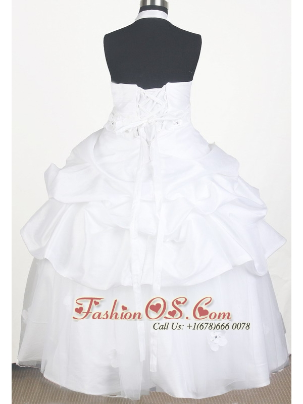 Sweet Hand Made Flowers With Beading Ball Gown Little Girl Pageant Dress Halter Top Floor-length